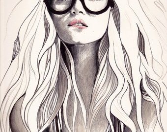 "Fashion Illustration, Black And White Print, Black And White Wall Art, Pen And Ink Drawing, Fashion Print, , ""Can't Remember His Name"""
