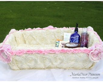 Large Bathroom Wedding Bridal Girl Luxury Basket Custom Shower Party Powder room Basket with Brooches Crystals Flowers in Ivory Pink