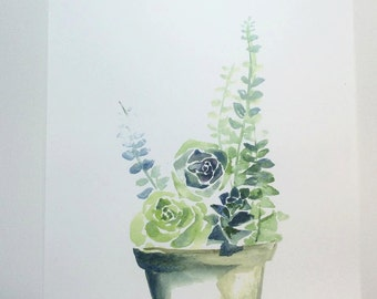 Watercolor succulent print 11x15in