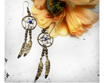 vintage Dream Catcher Earrings, Feather earrings, Spider Web earring -mid-century earring- Vintage drop earrings -dangle earring - # J 25