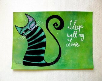 Cat decor bedroom,green nursery,cat lovers gift,8.26 x 5.82 inches