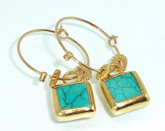 GOLD hoop earrings,dangle turquoise earrings, ocean jewelry, turquoise hoop earrings,   december birthstone, gold post f