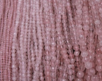 A Grade Extra Gemmy Natural Pink Rose Quartz Faceted Round Beads 4mm 6mm 8mm 10mm Round Beads Strand