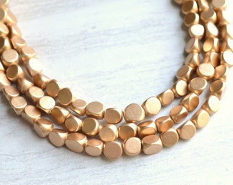 Nicoline - Gold Wood Long Bridesmaid Statement Necklace