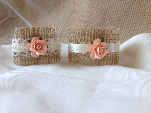 Peach Wedding Napkin Rings Wedding Table Decor Rustic
