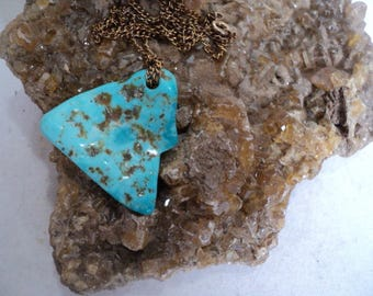 Sleeping Beauty Turquoise Necklace on Gold Chain (1360)