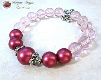 Hot Pink Pearl Bracelet, Silver Butterfly, Two Tone Spring Colors: Fuchsia & Pastel Rose, Stretch Bracelet, Colorful Gift for Women B256A