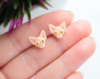 Polymer clay handcrafted earrings Sphynx Cat