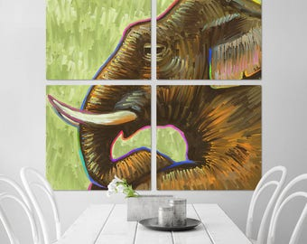 Elephant Mom & Baby Quadriptych Metal Wall Art Pop Art