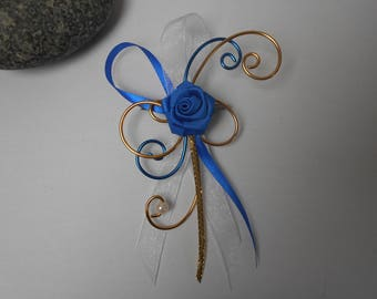 Brooch for bride - back train - Royal Blue, gold and white