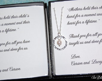 Set of TWO Mother of the Bride, Mother of the Groom Gifts, Cards with Eternity Pearl necklaces,Mother of the Groom gift, Mothers Jewelry