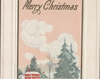 Best Wishes for A Merry Christmas Country House Christmas Vintage Postcard 123