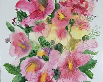 Original Watercolor art painting 12 x 18 in Botanical illustration floral watercolor flowers home decor mallow hollyhock