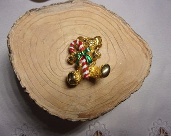 Vintage Christmas enamel teddy bear brooch, estate jewelry