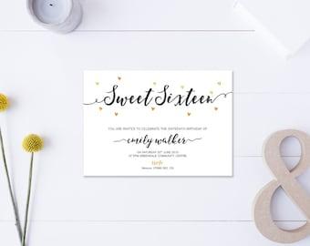 Sweet Sixteen // Invitation // Metallic Gold & Black // DIY Printable File // Digital PDF File