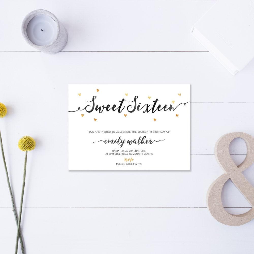 Sweet Sixteen Invitation Metallic Gold Black Diy Printable File