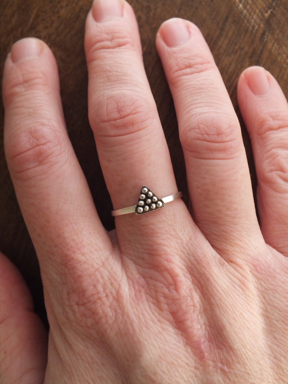 Tiny triangle ring sterling silver tribal granulation ring