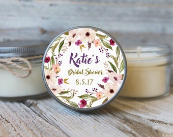 12 - 4 oz Soy Candle Bridal Shower Favors - Floral Wreath Label - Floral Bridal Shower Favors - Purple Bridal Shower Favor - Mason Jar Favor
