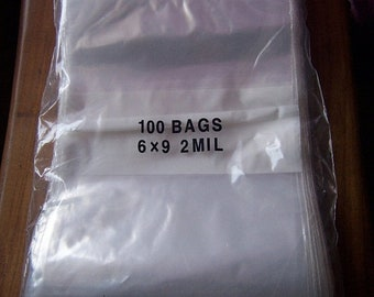 TAX SEASON Stock up 100 Pc 6 X 9 Inch Resealable Zip Close Plastic White Block Front Bags- Great For Aceo Cards, Prints,Pictures, Craft Supp