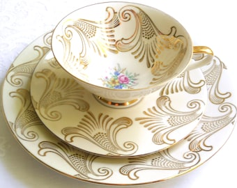 vintage gold tea cup trio tea cups and saucers tea cup trio tea set german porcelain german tea cups  51