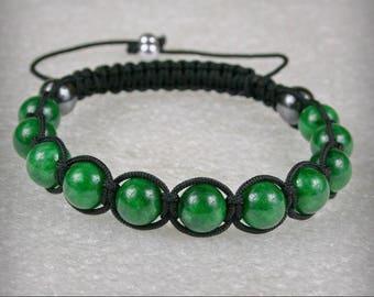 MEN Shamballa Bracelet with 10 mm Green Emerald Jade gemstone  beads  , stone bracelet , Green Jade Bracelet