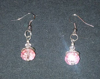 Ice pink dangle earrings with antique silver fittings and details. Simple and lightweight