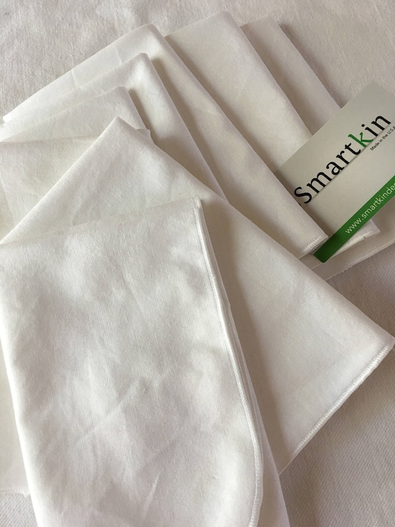 Crisp, All White Set of 8 All Cotton Cloth Napkins 12x15 in Size by Smartkin