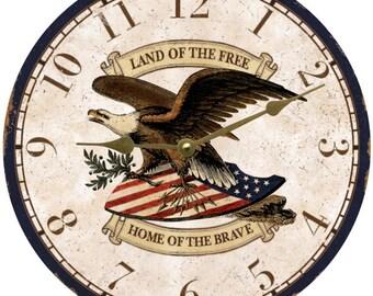 Patriotic Clock- Patriotic Clock- Eagle Wall Clock