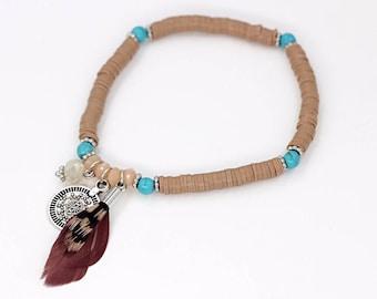 Brown & Beige Feather bracelet
