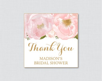 Pink Floral Bridal Shower Favor Tags Printable - Blush Pink and Gold Garden Bridal Shower Favor Tags, Thank You Tags - Flower Favor Tag 0007