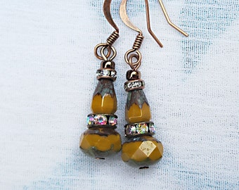 Yellow core and copper earrings