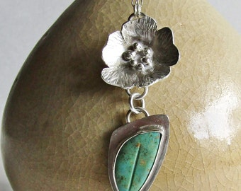 Turquoise Leaf and Silver Flower Necklace - Carved Turquoise - Sterling Silver Flower -