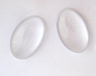 40 x 30 mm set of 5 glass paste cabochons