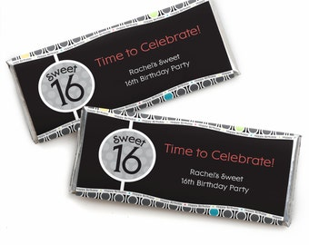 16th Birthday Custom Candy Bar Wrappers - Personalized Birthday Party Favors - Sweet 16 - 24 Count