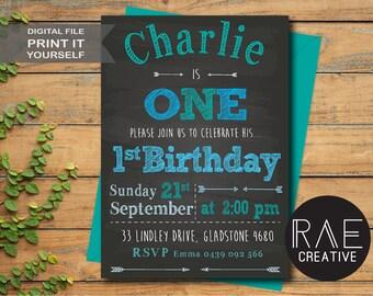 Boys chalk board 1st Birthday party Invitation DIGITAL FILE / DIY Printable /First Birthday, Blue, Green