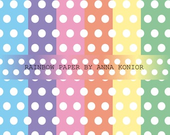 Rainbow Paper digital, Polka dot paper, dotted paper digital, 7 JPG, Instant Download, Commercial Use