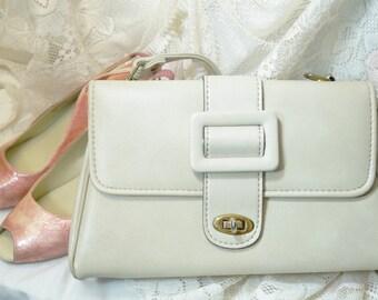 Jaclyn USA Handbag/Vintage Handbag/Jaclyn USA Shoulder Bag/Like New Vintage Bag/Beige Handbag/Vintage Purse/Designer Handbag/70's Purse