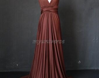 Infinity Dress Bridesmaid Dress Wrap Convertible Dress Brown Formal Dress Evening Gown Dress