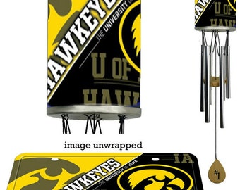 Wind Chime, Iowa Hawkeyes plate rolled in on the chime body