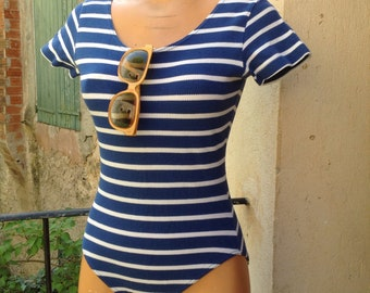 1980s navy blue stripes bodysuit size M
