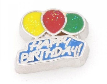 Happy Birthday Balloons Floating Locket Charm Living Memory Lockets Jewelry Making Supplies - 61a