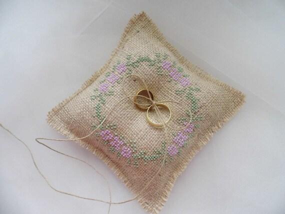 Ring Bearer Pillow Hand Embroidered Burlap Ring Pillow