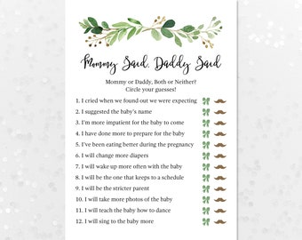 Mommy Said, Daddy Said Baby Shower Guessing Game, He Said, She Said, Printable Shower Game Card, Green Laurels Greenery Wreath 70J
