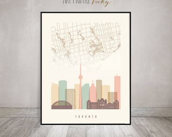 Toronto map, Toronto skyline art print, Toronto Poster, Wall art, Canada cityscape, City poster, Typography art, Home Decor, ArtPrintsVicky