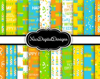 20 Digital Papers. Birthday Papers in Green Blue Yellow Orange (2F no 6) for Personal Use and Small Commercial Use scrapbooking