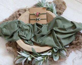 Olive Stretch Wrap and Tieback Set