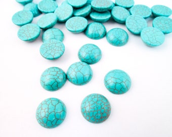 10 16mm Genuine Turquoise Howlite Cabochons H556