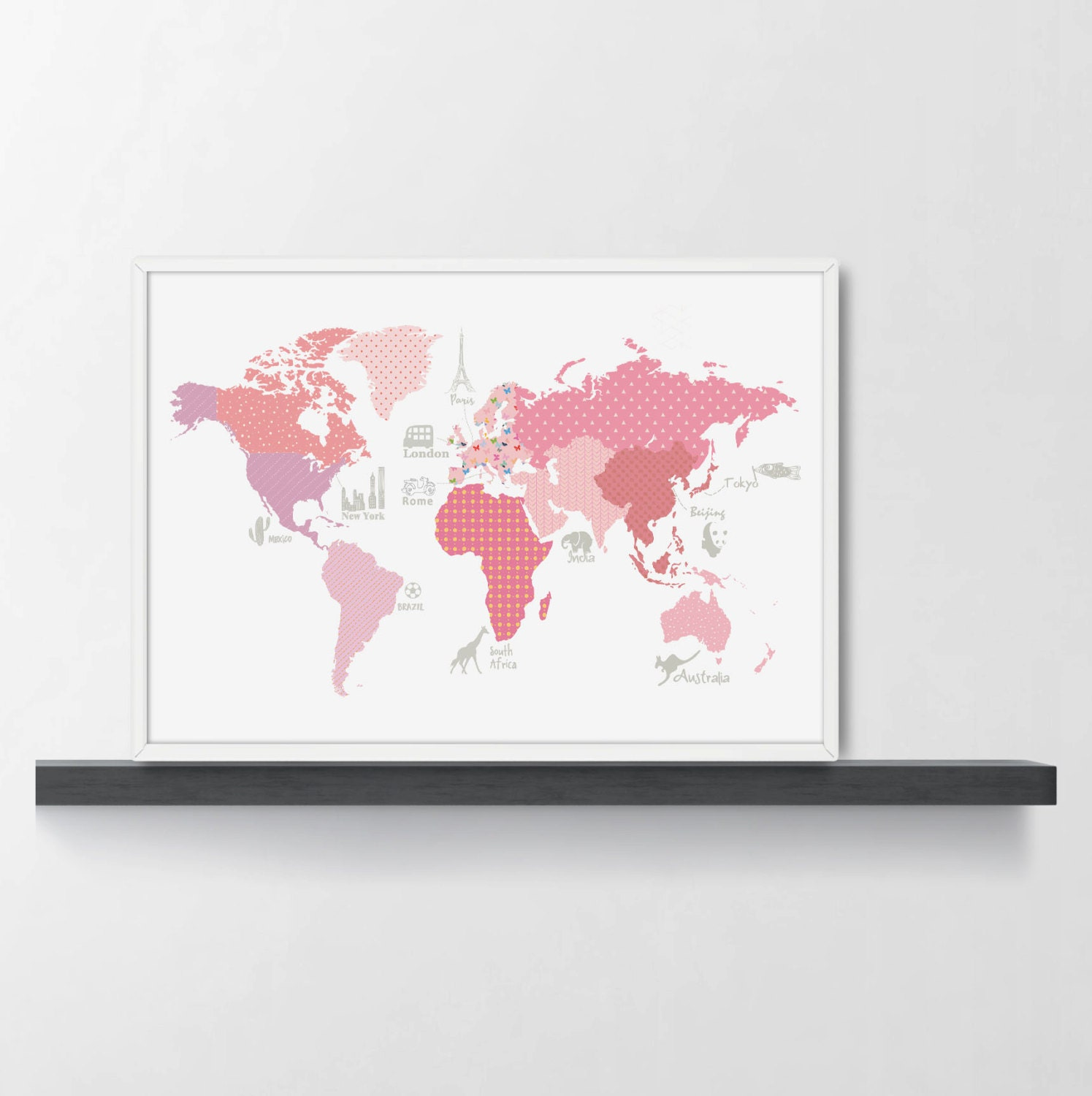 Girls room decor world map poster wm305a pink world map zoom gumiabroncs Image collections