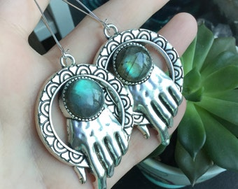 Labradorite hand earrings, stretched ears, ear weights, Sold per pair (leave listing qty as 1), made to order