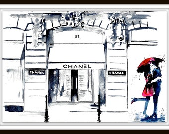 Chanel Love in Paris Watercolor Illustration, Parisian Cityscape, Romantic Bliss by Lana Moes, Fashion Illustration, Rue Cambon Art Print